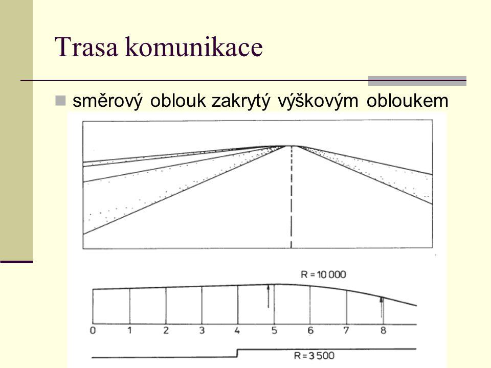 Trasa komunikace směrový oblouk zakrytý výškovým obloukem