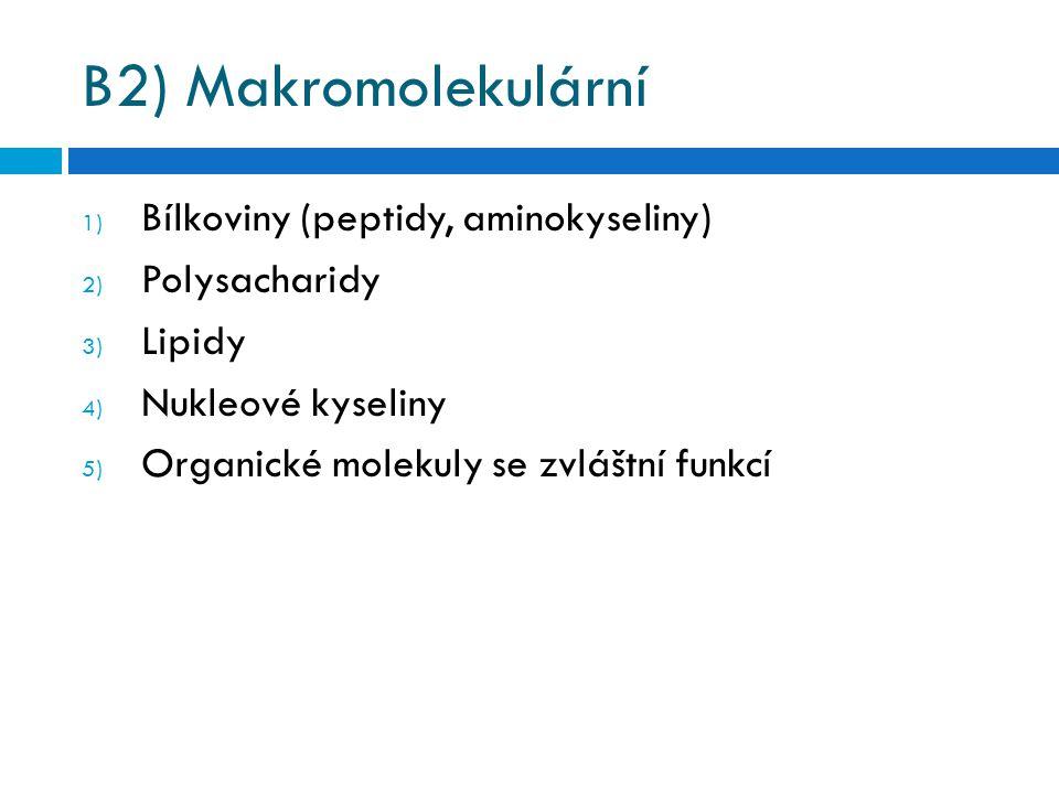 B2) Makromolekulární Bílkoviny (peptidy, aminokyseliny) Polysacharidy