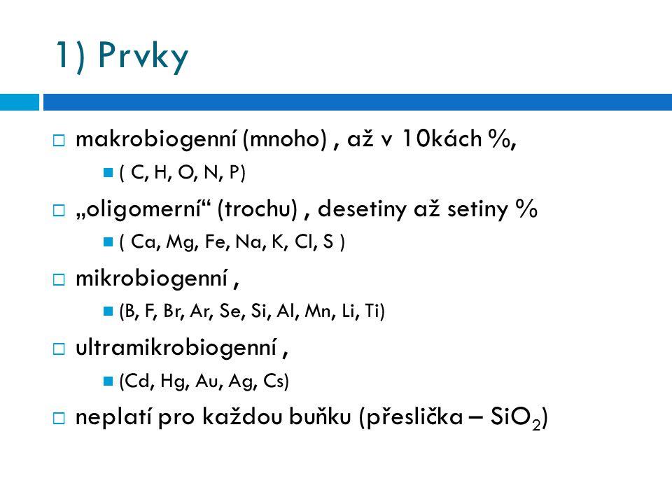 1) Prvky makrobiogenní (mnoho) , až v 10kách %,