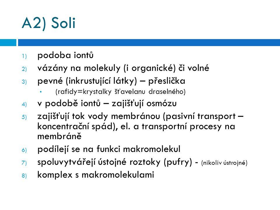 A2) Soli podoba iontů vázány na molekuly (i organické) či volné