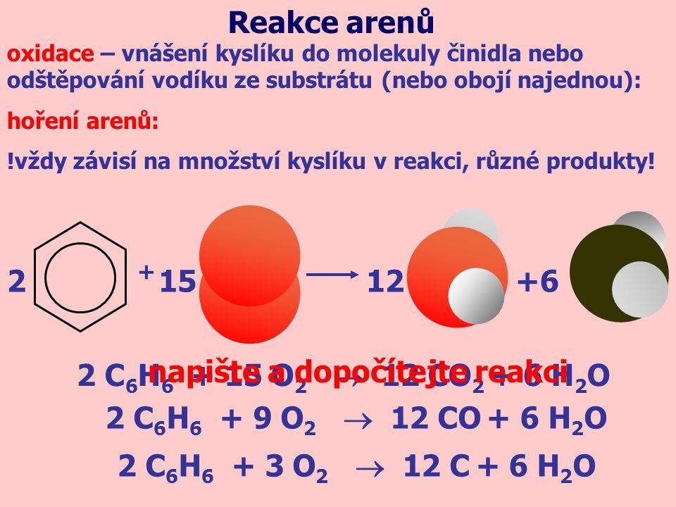 napište a dopočítejte reakci 2 C6H6 + 15 O2  12 CO2 + 6 H2O