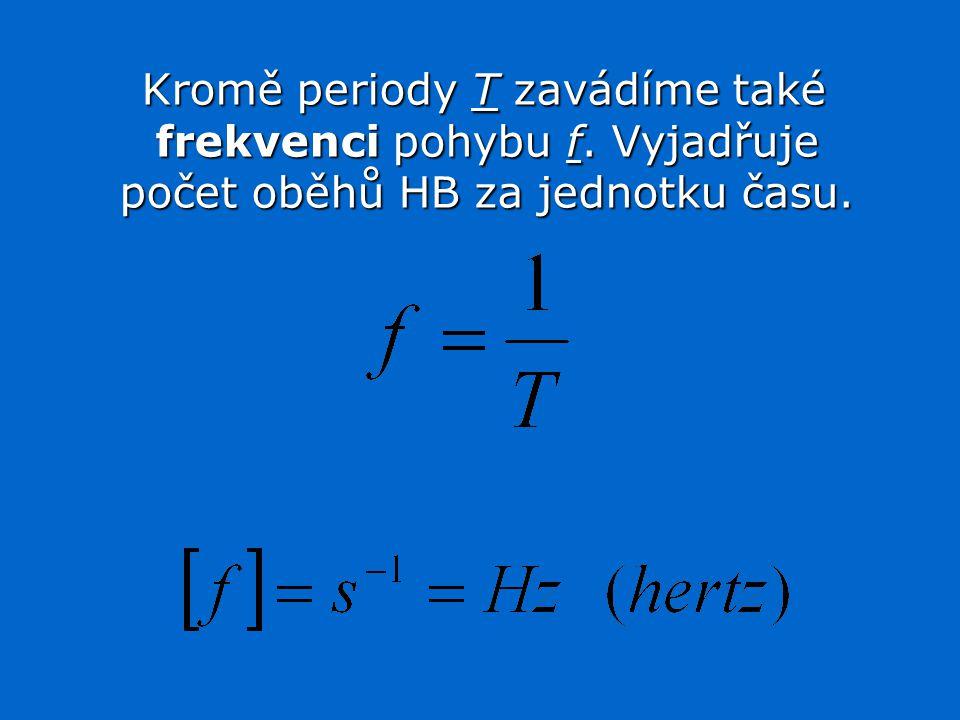 Kromě periody T zavádíme také frekvenci pohybu f