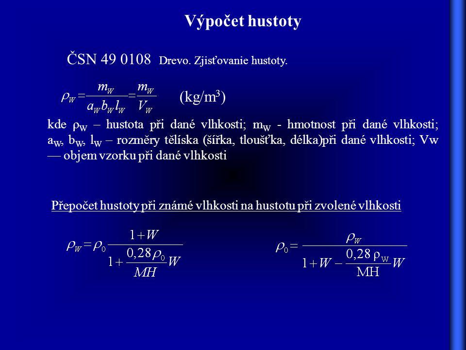 Výpočet hustoty ČSN 49 0108 Drevo. Zjisťovanie hustoty. (kg/m3)