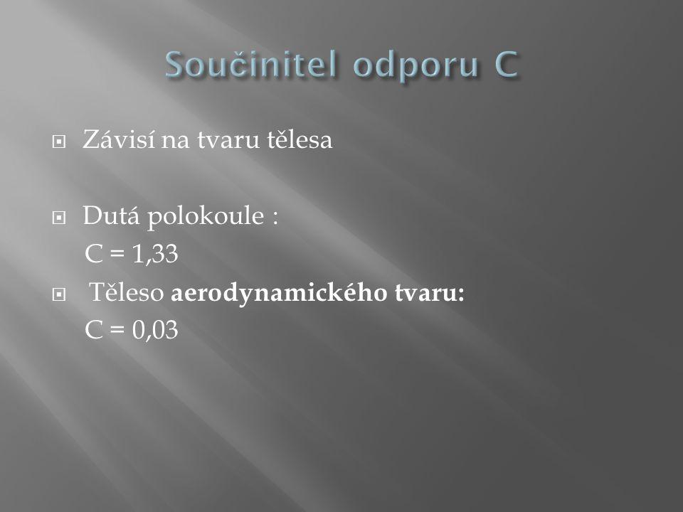 Součinitel odporu C Závisí na tvaru tělesa Dutá polokoule : C = 1,33