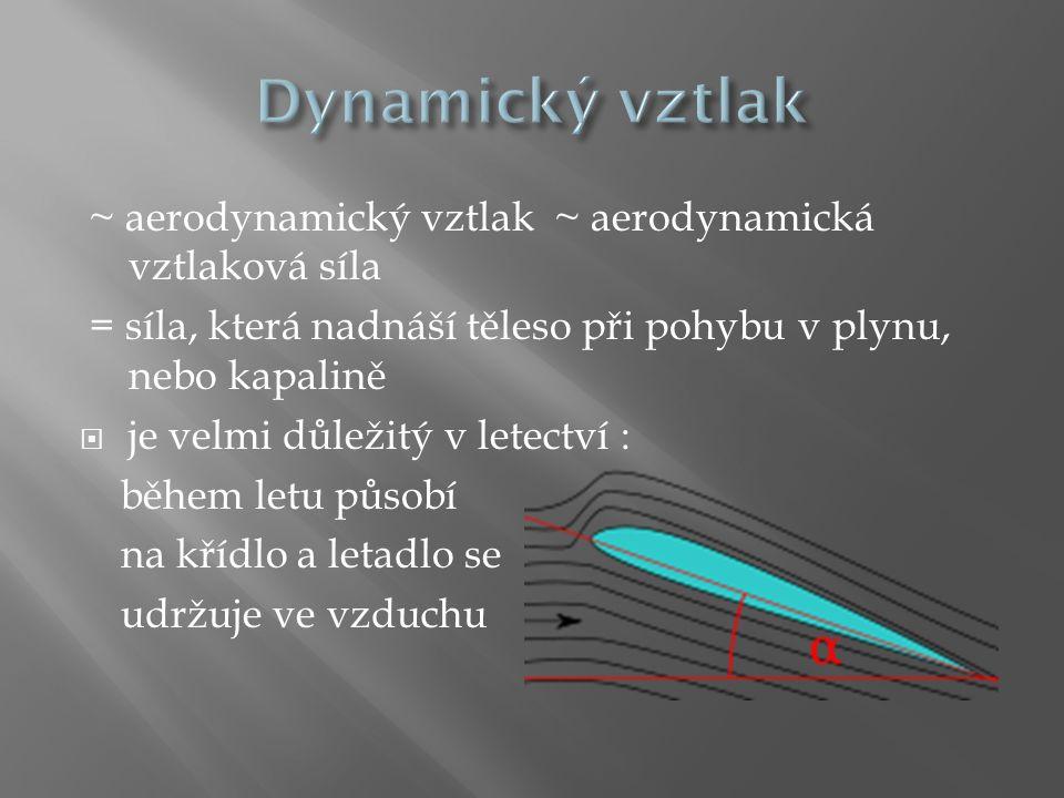 Dynamický vztlak ~ aerodynamický vztlak ~ aerodynamická vztlaková síla