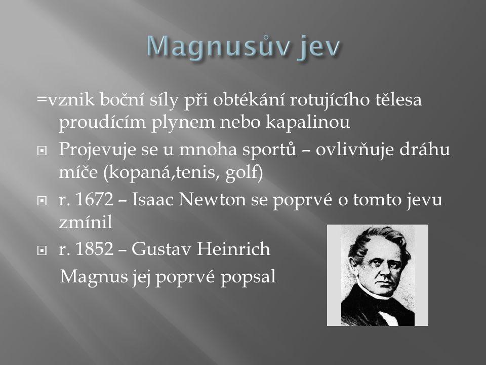 Magnusův jev =vznik boční síly při obtékání rotujícího tělesa proudícím plynem nebo kapalinou.