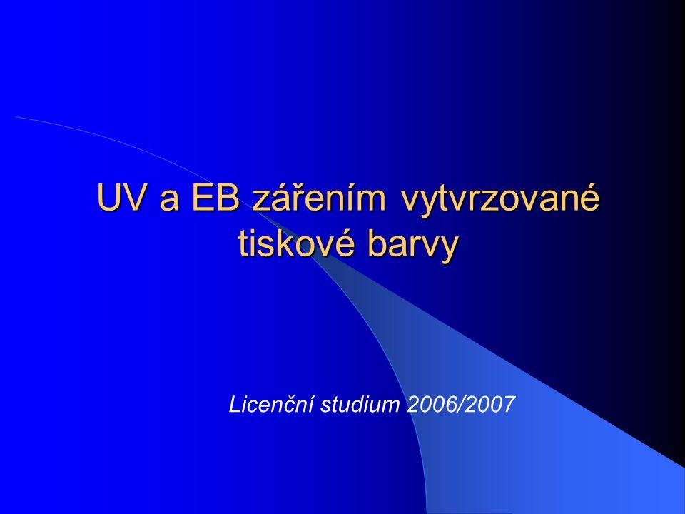 UV a EB zářením vytvrzované tiskové barvy