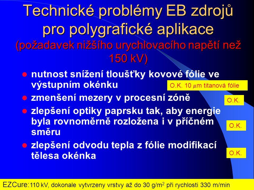 Technické problémy EB zdrojů pro polygrafické aplikace (požadavek nižšího urychlovacího napětí než 150 kV)