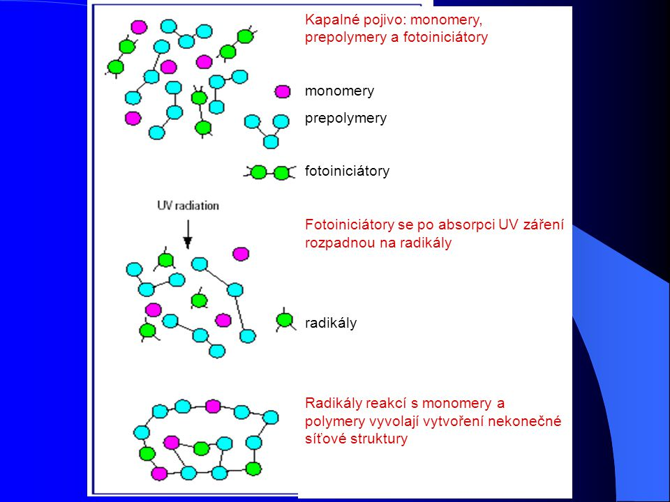 Kapalné pojivo: monomery, prepolymery a fotoiniciátory
