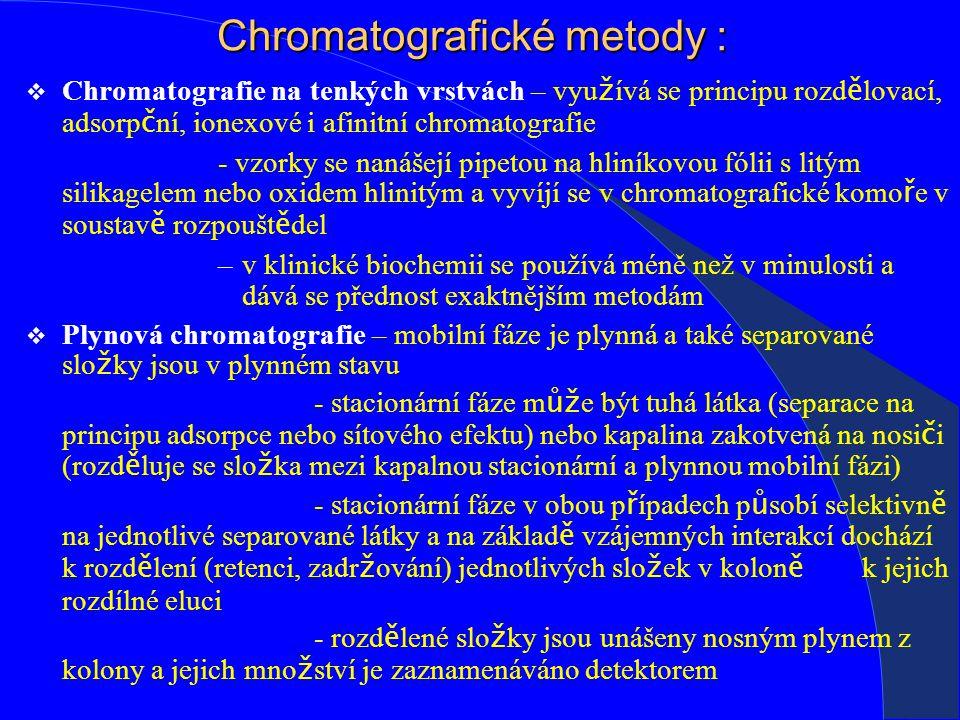Chromatografické metody :