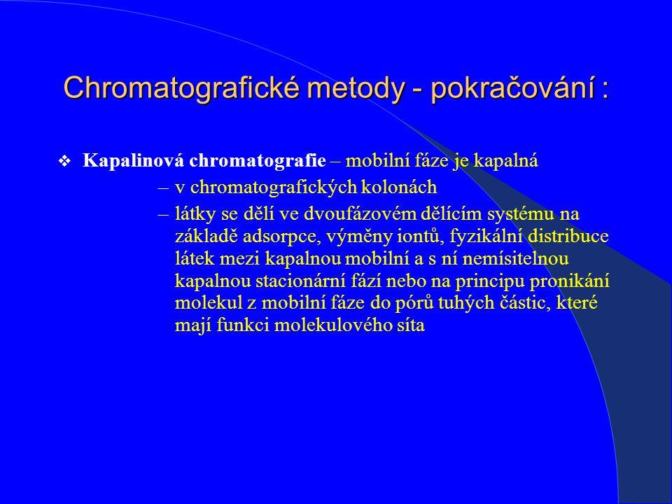 Chromatografické metody - pokračování :