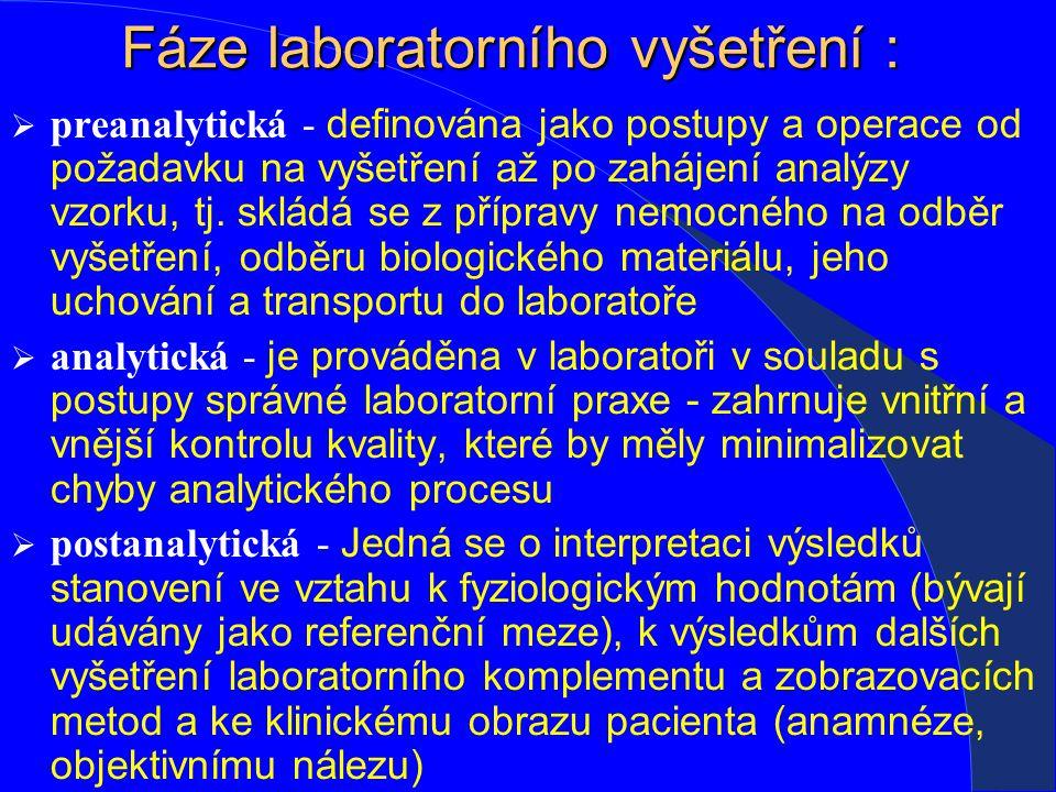 Fáze laboratorního vyšetření :