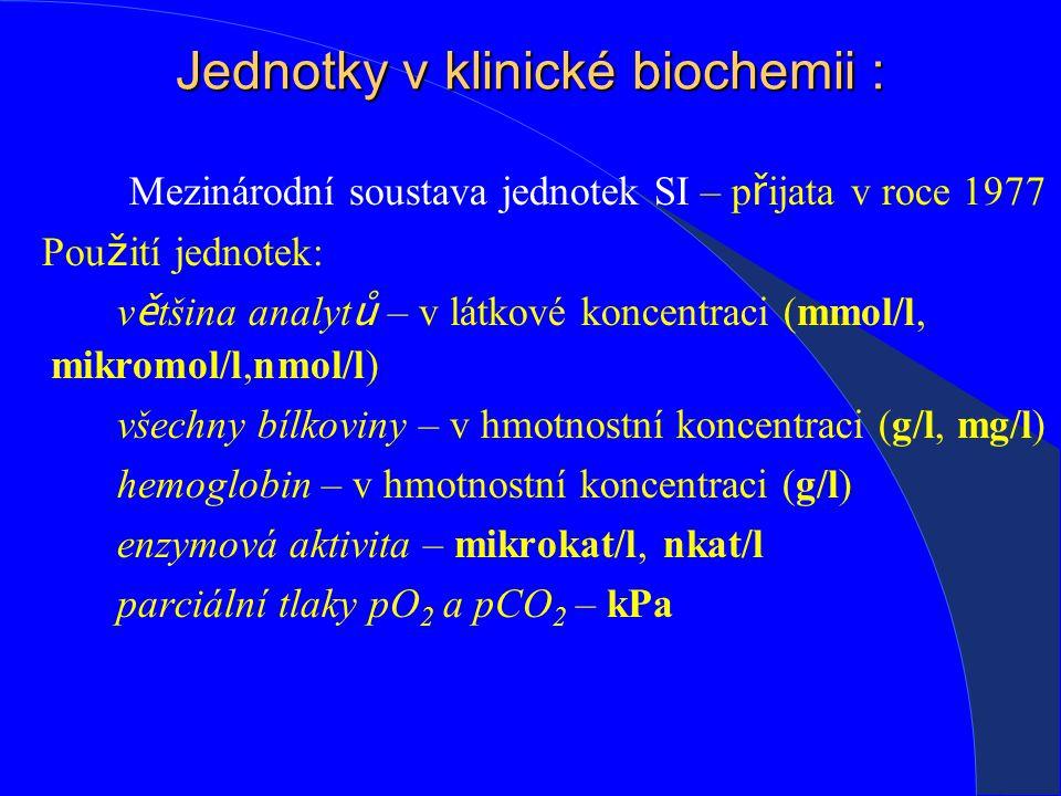 Jednotky v klinické biochemii :
