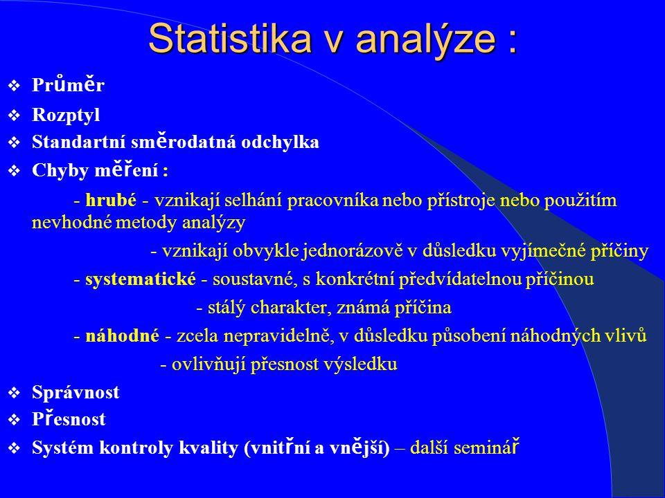 Statistika v analýze : Průměr Rozptyl Standartní směrodatná odchylka