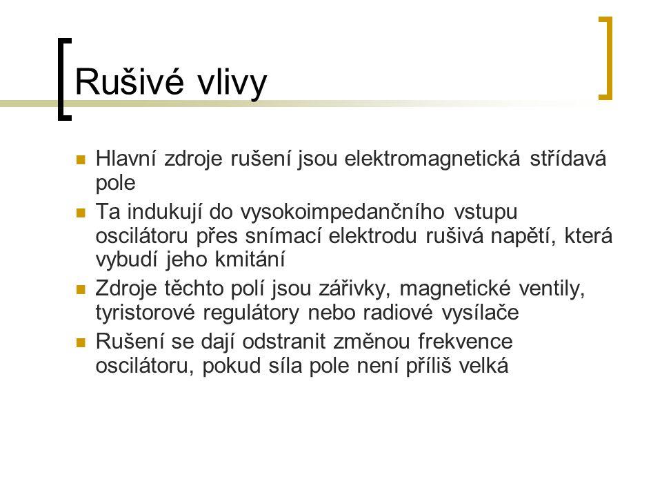 Rušivé vlivy Hlavní zdroje rušení jsou elektromagnetická střídavá pole