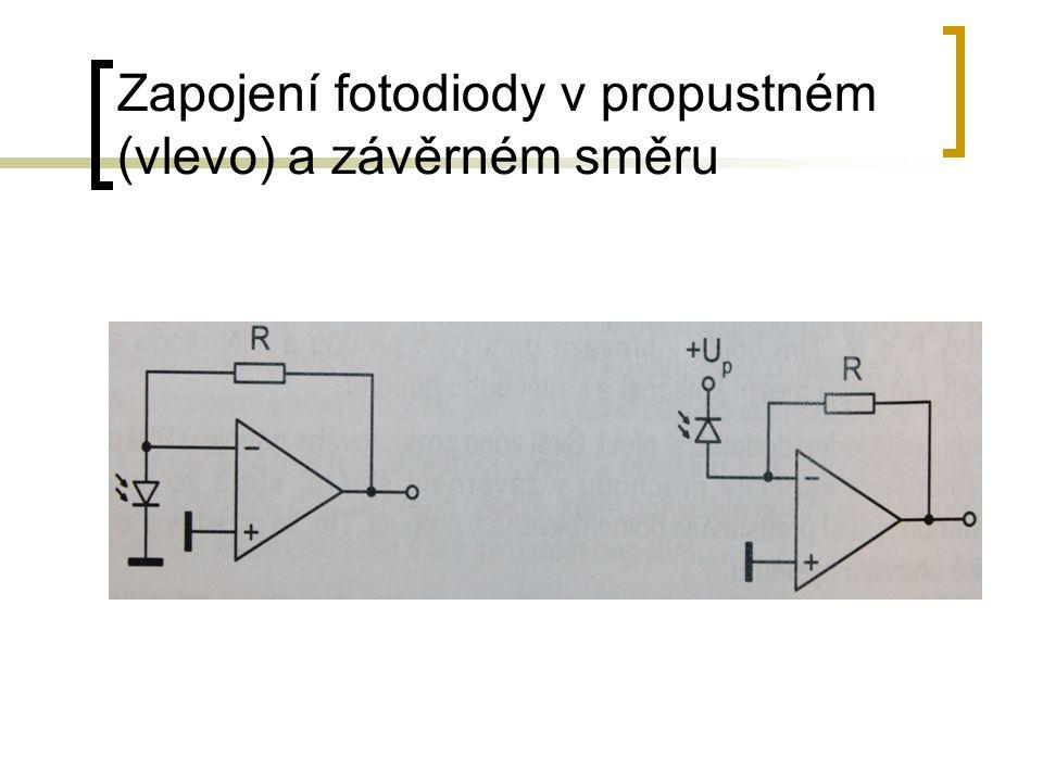 Zapojení fotodiody v propustném (vlevo) a závěrném směru
