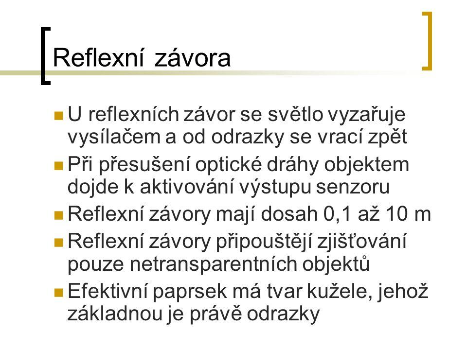 Reflexní závora U reflexních závor se světlo vyzařuje vysílačem a od odrazky se vrací zpět.