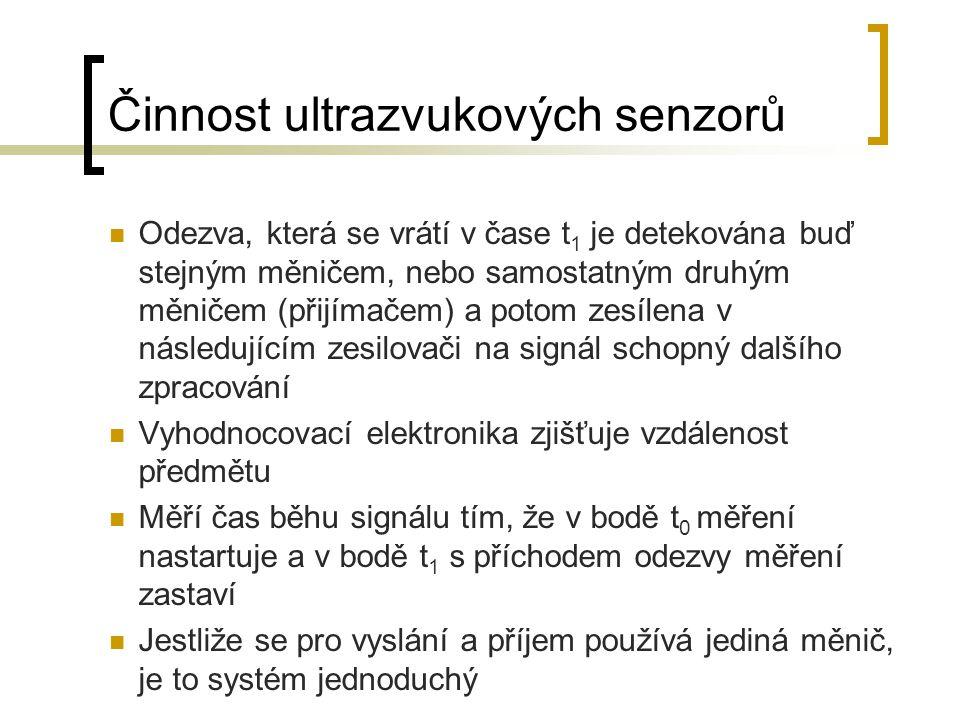 Činnost ultrazvukových senzorů