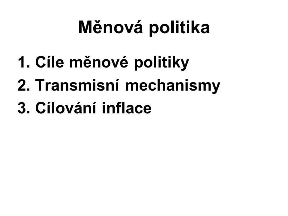 Měnová politika 1. Cíle měnové politiky 2. Transmisní mechanismy