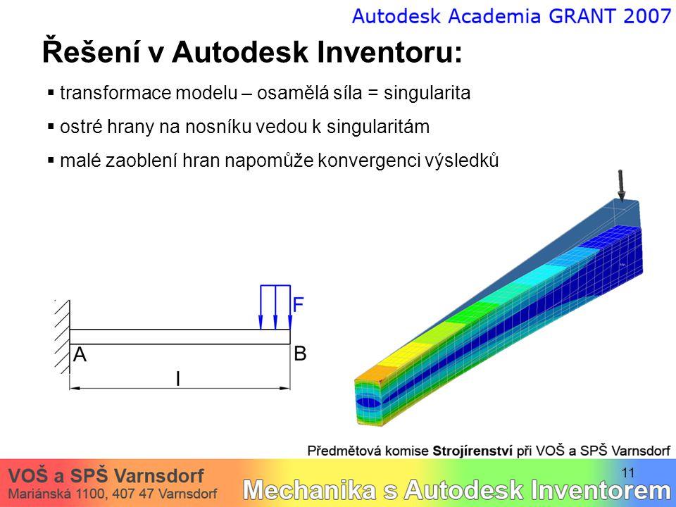 Řešení v Autodesk Inventoru: