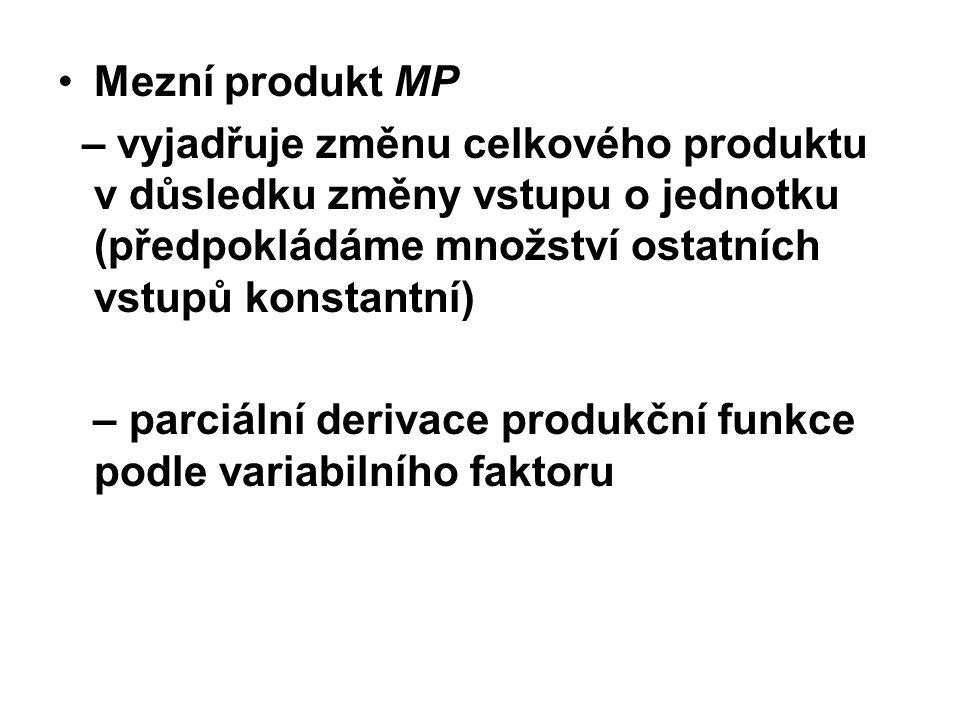 Mezní produkt MP – vyjadřuje změnu celkového produktu v důsledku změny vstupu o jednotku (předpokládáme množství ostatních vstupů konstantní)