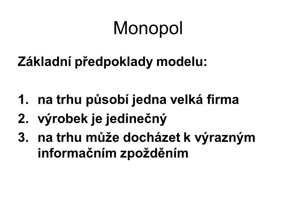 Monopol Základní předpoklady modelu: na trhu působí jedna velká firma