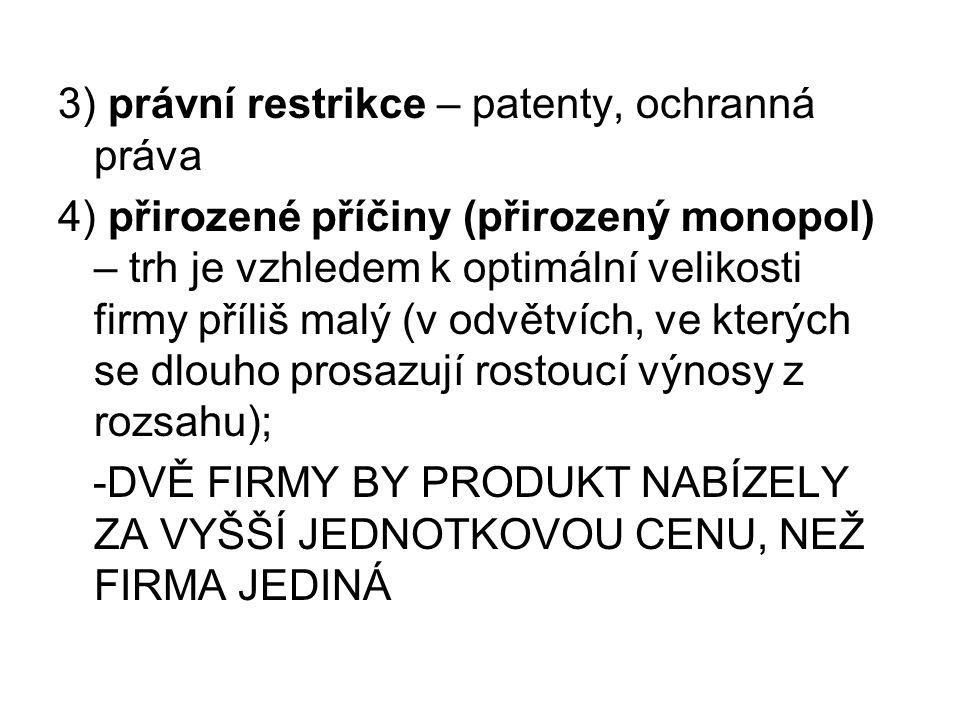 3) právní restrikce – patenty, ochranná práva