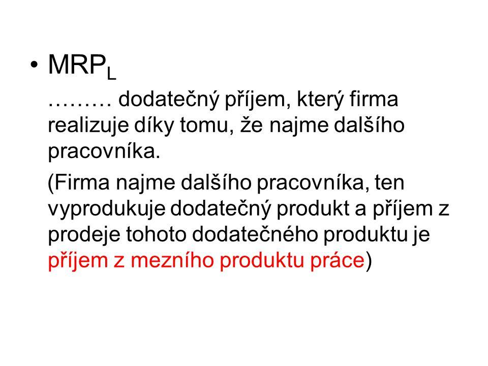 MRPL ……… dodatečný příjem, který firma realizuje díky tomu, že najme dalšího pracovníka.