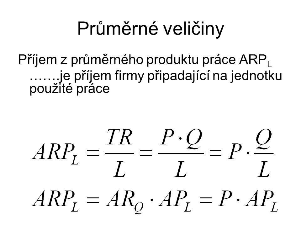 Průměrné veličiny Příjem z průměrného produktu práce ARPL