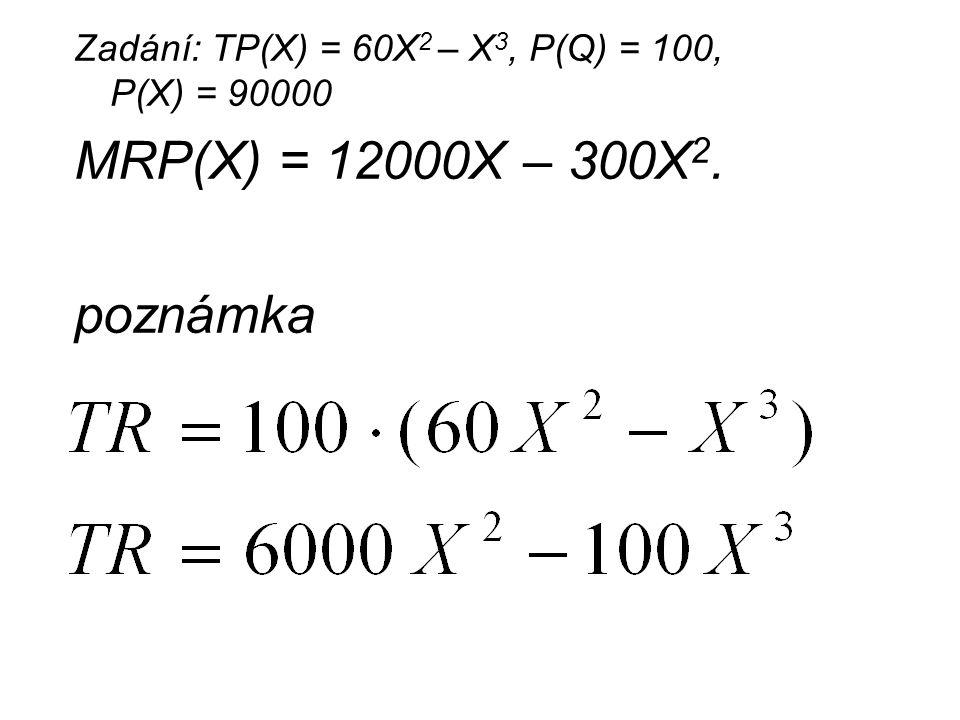 Zadání: TP(X) = 60X2 – X3, P(Q) = 100, P(X) = 90000