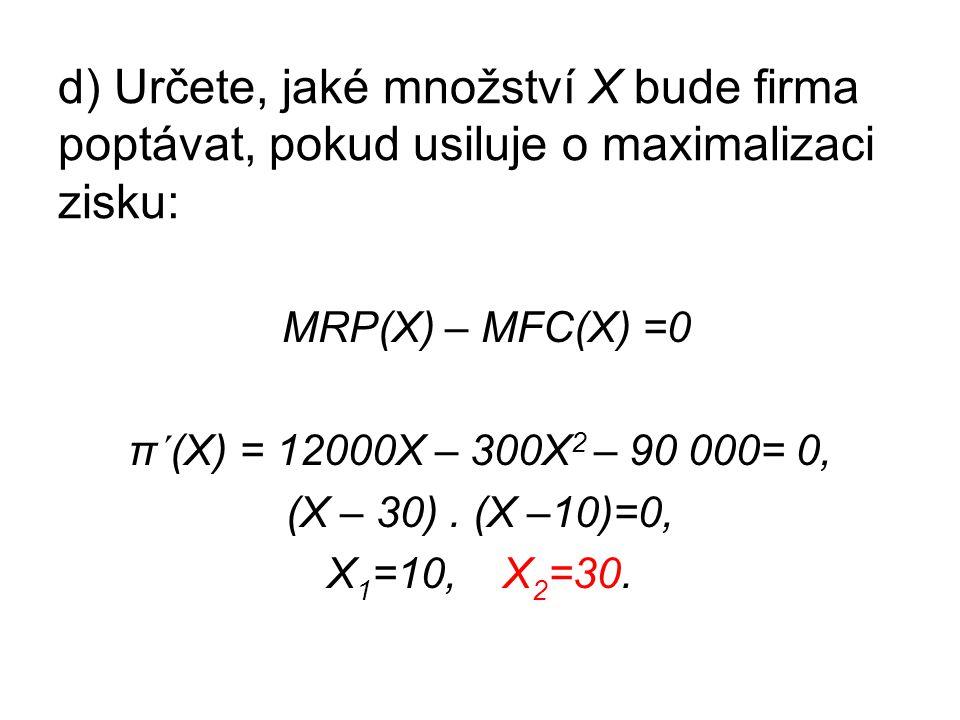 d) Určete, jaké množství X bude firma poptávat, pokud usiluje o maximalizaci zisku: