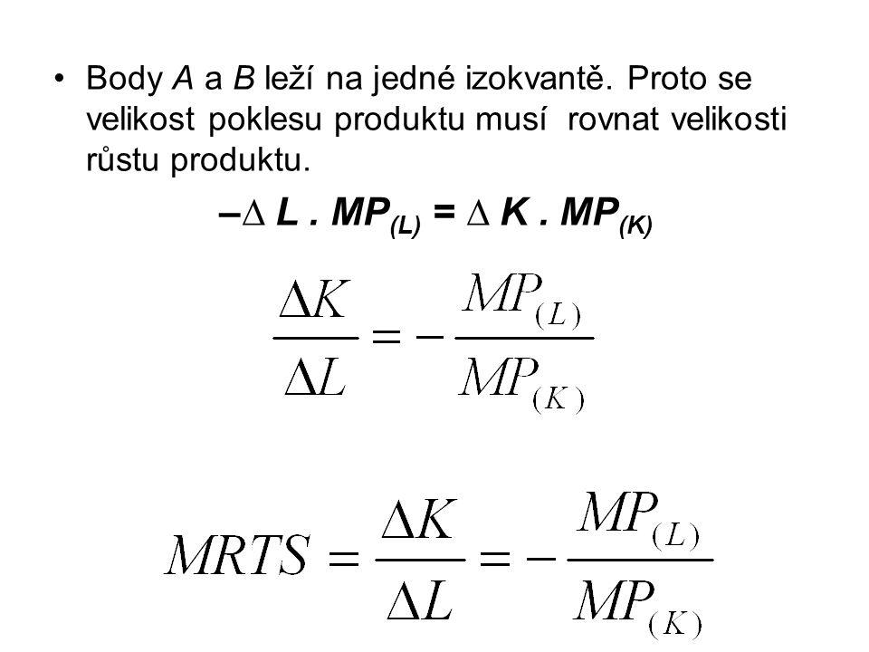 Body A a B leží na jedné izokvantě