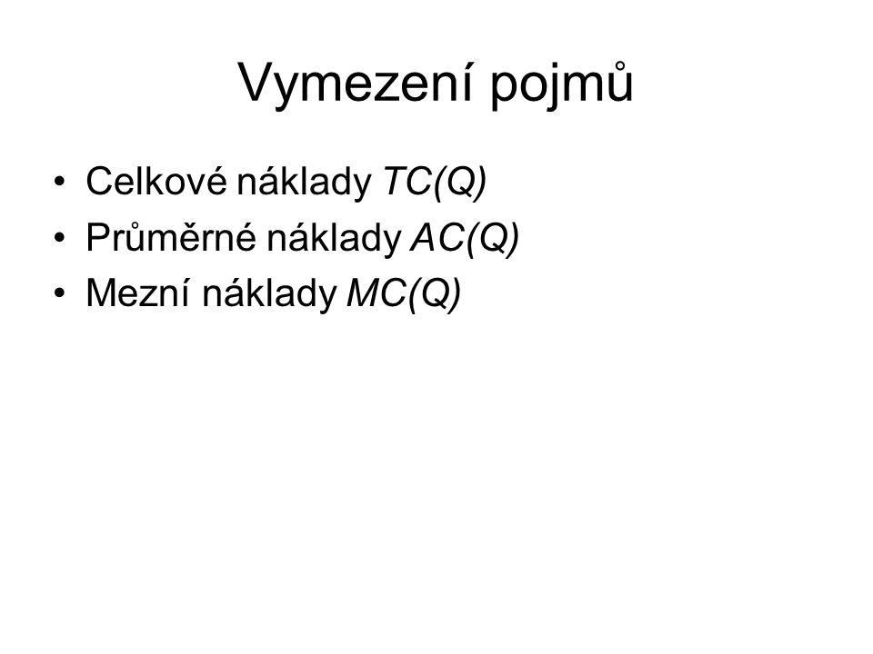 Vymezení pojmů Celkové náklady TC(Q) Průměrné náklady AC(Q)