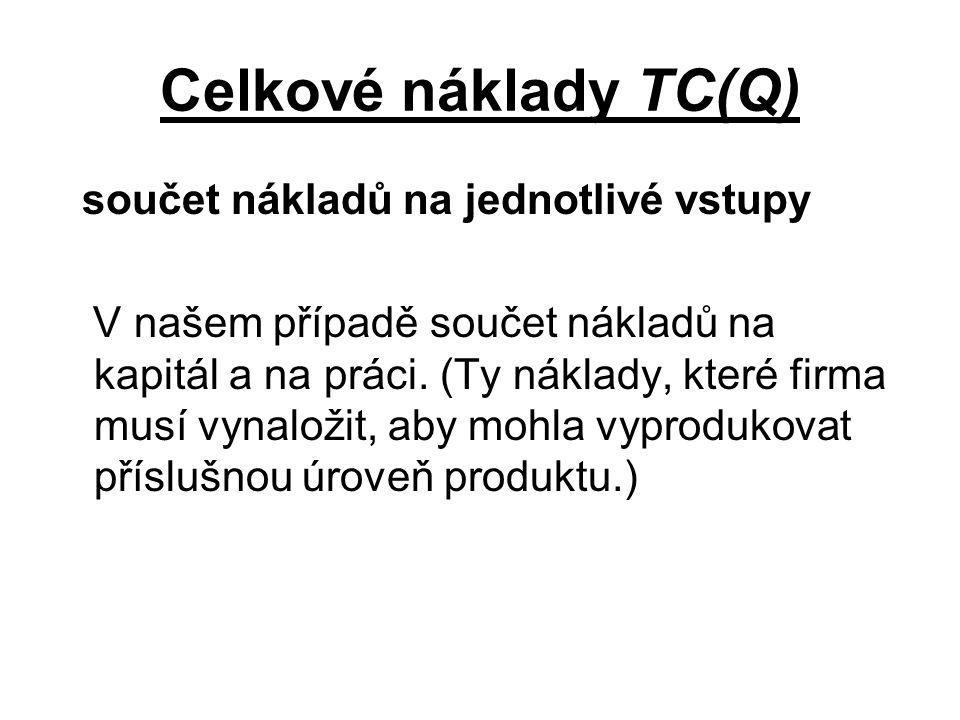 Celkové náklady TC(Q) součet nákladů na jednotlivé vstupy