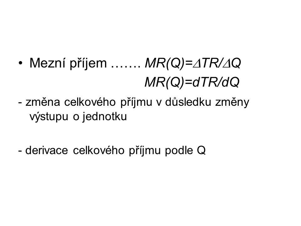 Mezní příjem ……. MR(Q)=TR/Q MR(Q)=dTR/dQ