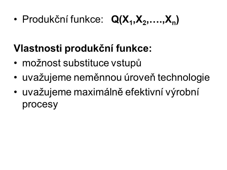 Produkční funkce: Q(X1,X2,….,Xn)