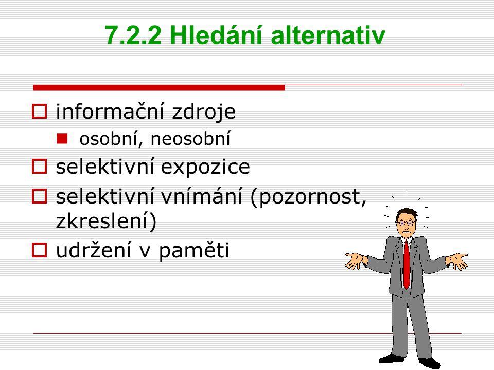 7.2.2 Hledání alternativ informační zdroje selektivní expozice