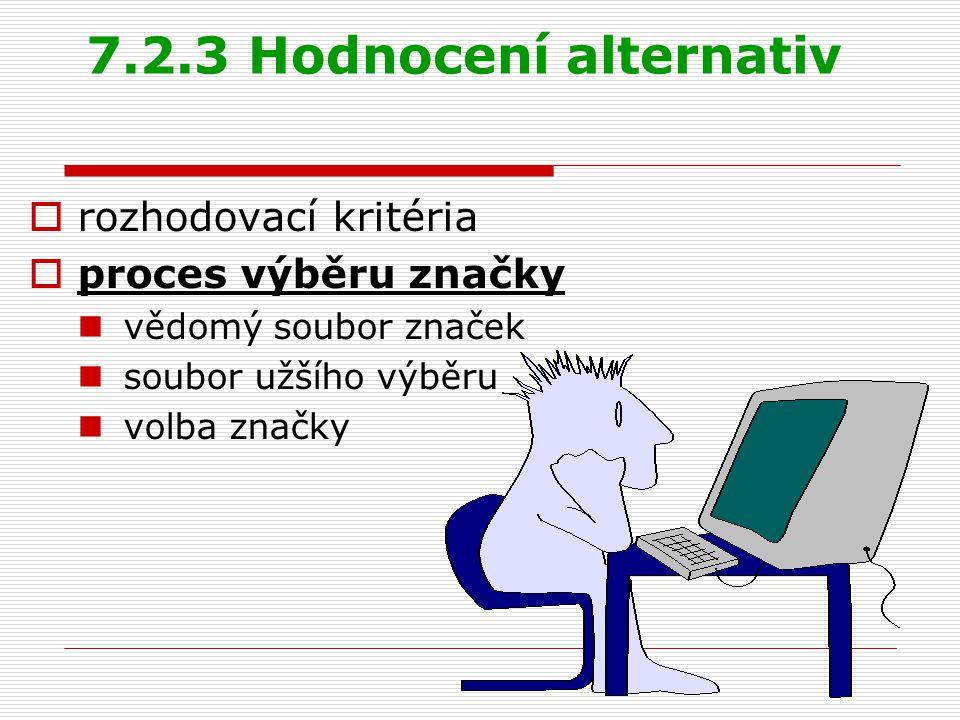 7.2.3 Hodnocení alternativ rozhodovací kritéria proces výběru značky