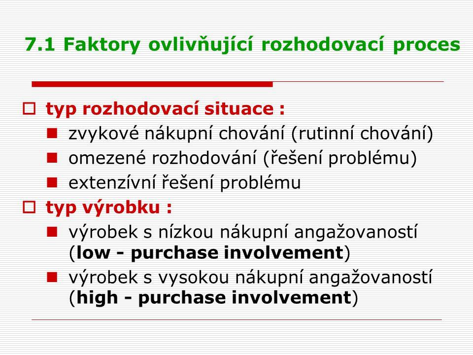7.1 Faktory ovlivňující rozhodovací proces