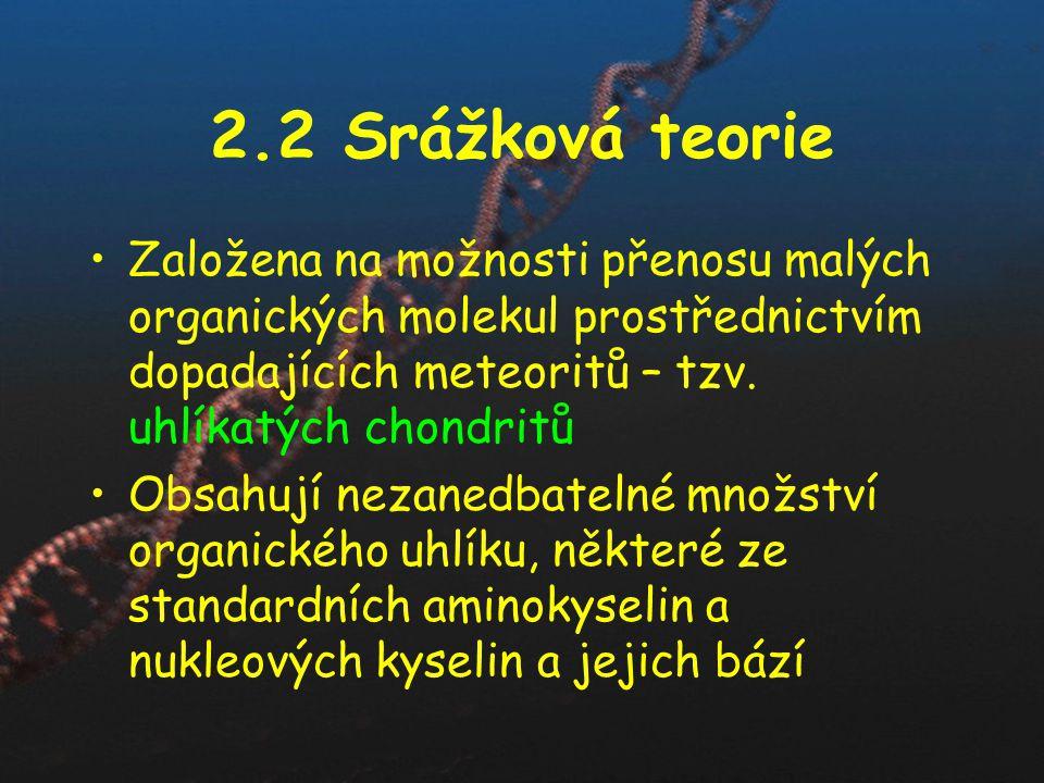 2.2 Srážková teorie Založena na možnosti přenosu malých organických molekul prostřednictvím dopadajících meteoritů – tzv. uhlíkatých chondritů.