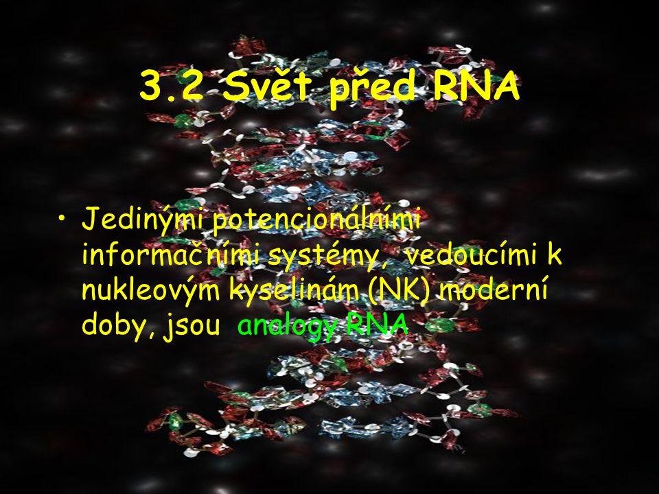 3.2 Svět před RNA Jedinými potencionálními informačními systémy, vedoucími k nukleovým kyselinám (NK) moderní doby, jsou analogy RNA.