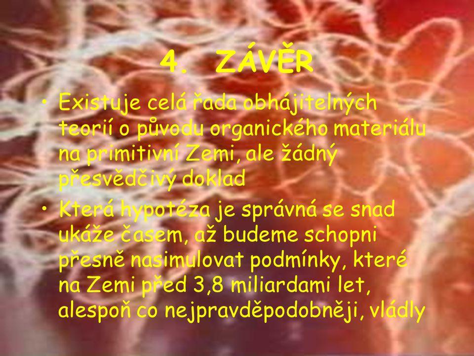 4. ZÁVĚR Existuje celá řada obhájitelných teorií o původu organického materiálu na primitivní Zemi, ale žádný přesvědčivý doklad.