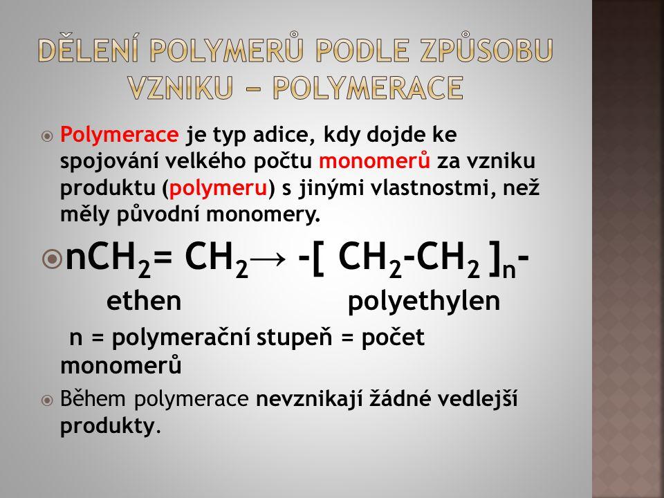 Dělení polymerů podle způsobu vzniku − Polymerace