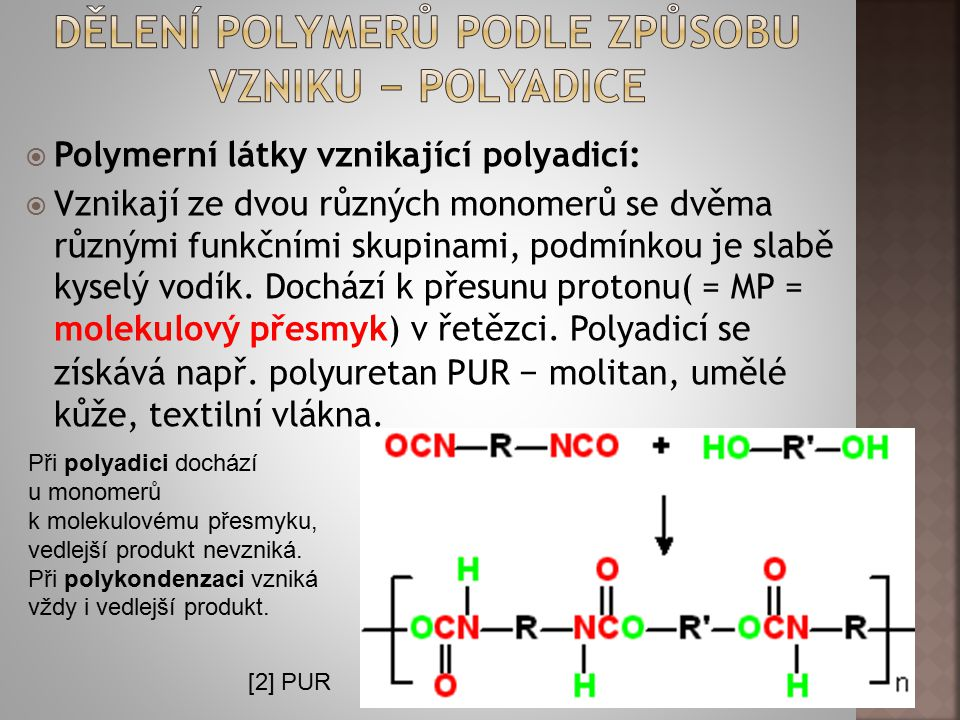 Dělení polymerů podle způsobu vzniku − Polyadice