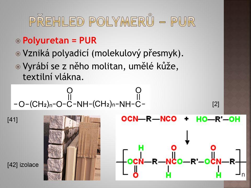 Přehled polymerů − PUR Polyuretan = PUR