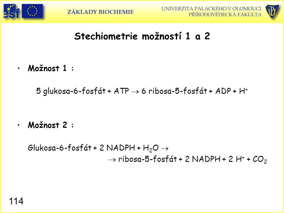 Stechiometrie možností 1 a 2