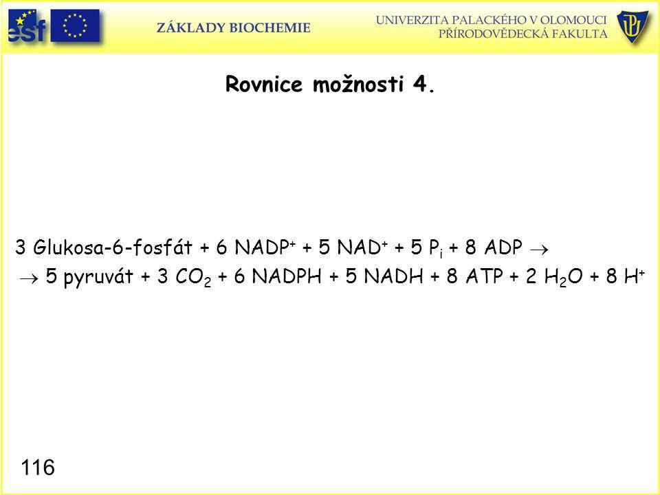 Rovnice možnosti 4. 3 Glukosa-6-fosfát + 6 NADP+ + 5 NAD+ + 5 Pi + 8 ADP   5 pyruvát + 3 CO2 + 6 NADPH + 5 NADH + 8 ATP + 2 H2O + 8 H+