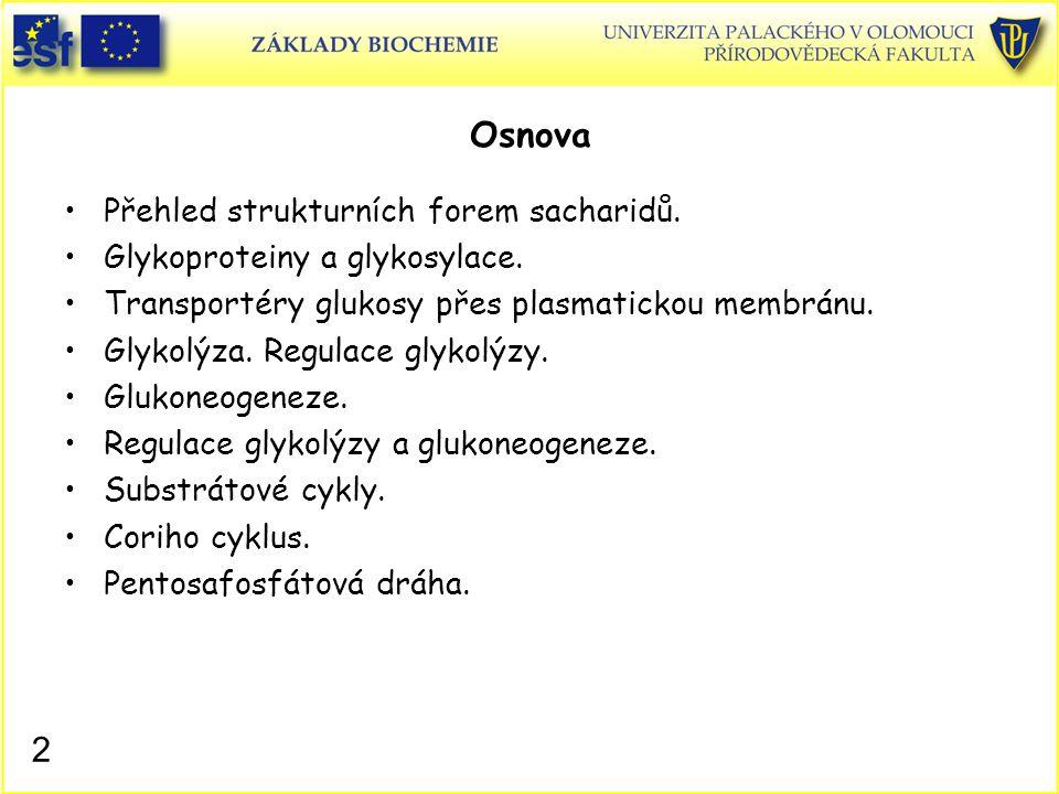 Osnova Přehled strukturních forem sacharidů.