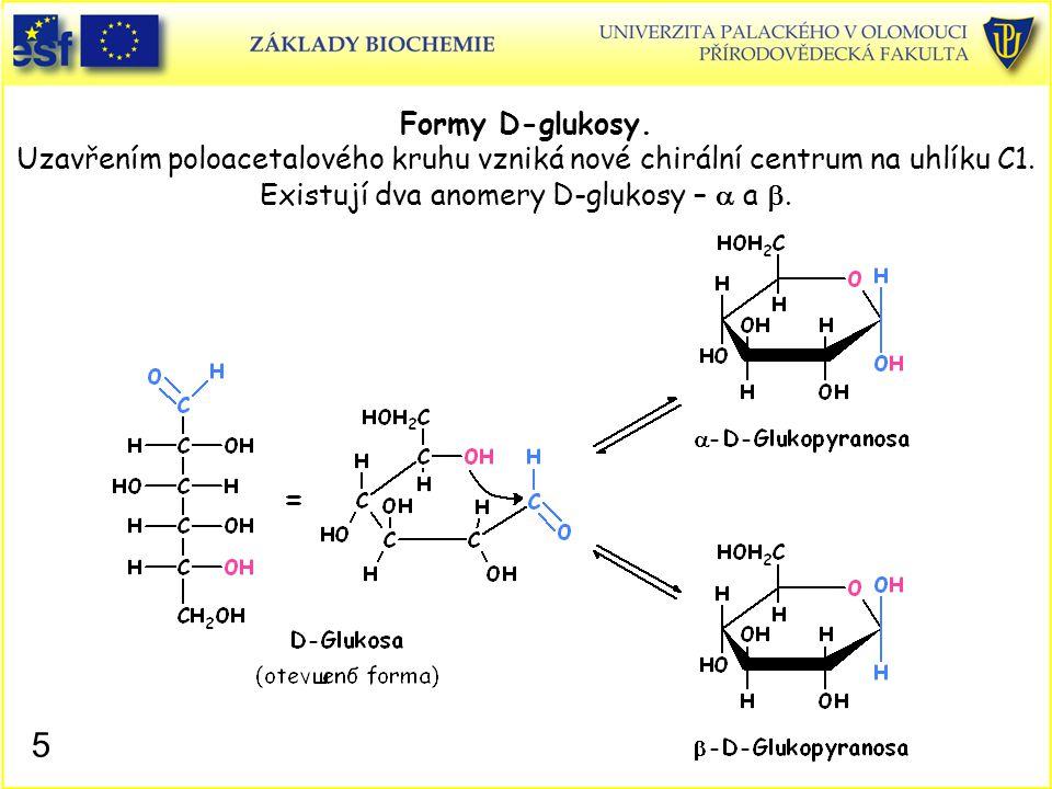 Formy D-glukosy. Uzavřením poloacetalového kruhu vzniká nové chirální centrum na uhlíku C1. Existují dva anomery D-glukosy – a a b.