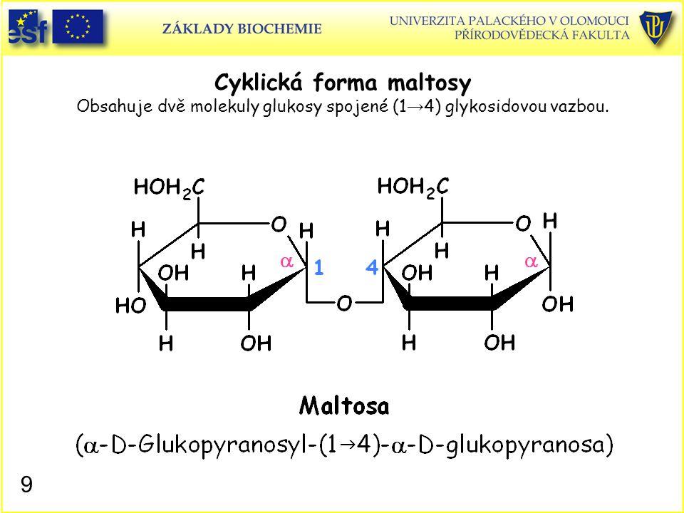 Cyklická forma maltosy Obsahuje dvě molekuly glukosy spojené (1→4) glykosidovou vazbou.
